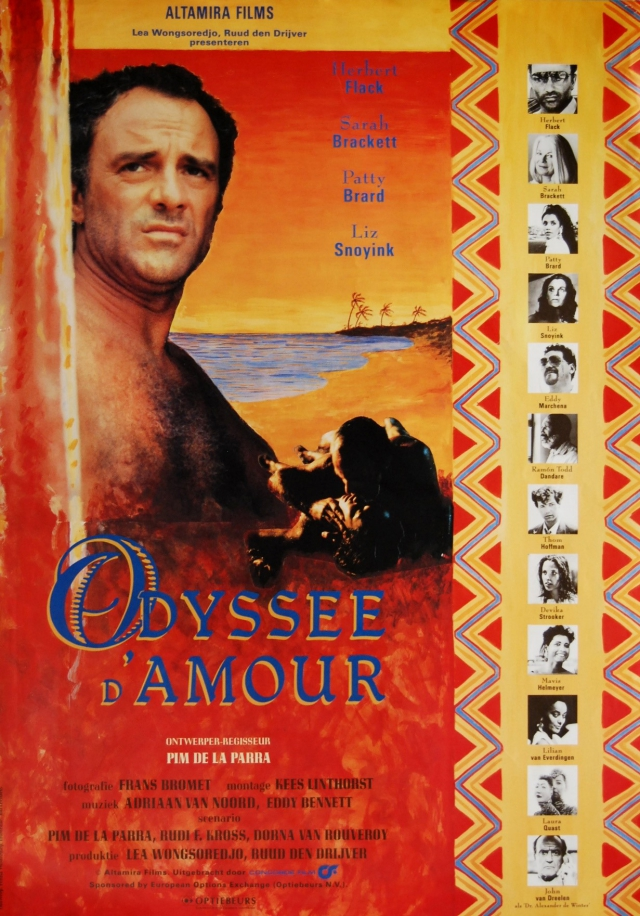 Figure 5. The original film poster of Odyssée d'Amour (1987, Odyssey of Love). 'I sought to portray how Dutch male expats living on the ABC islands use their privileged status to wreak havoc on the love life of the local women by playing multiple mistresses.' Design by: Fenna Westerdiep. Illustration by: Ton Leenarts.