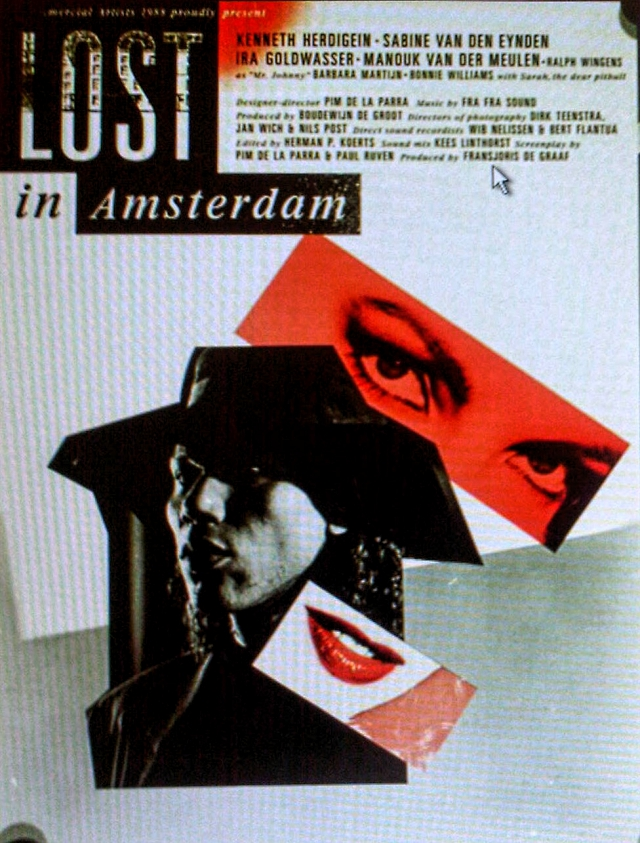 Figure 6. The original film poster of De la Parra's first minimal movie, Lost in Amsterdam (1989). 'I was determined to continue making films outside the regular grant scheme and in order to do so I had to perfect the craft of low-budget filmmaking.' Design by: Teun Anders and Johan Vigeveno.