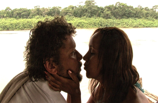 Figure 7. A still from the third feature film put out by the Surinamese Film Academy, The Secret of the Saramacca River, with Kenneth Herdigein and Lucille Roberts in the roles of husband and wife in crisis. 'While being educated, the students at the same time participated in the making of the feature-length experimental film Het geheim van de Saramacca Rivier (2007, The Secret of the Saramacca River).' Photo by: Tom Erisman.